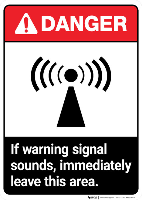 If Warning Signal Sounds Leave Area ANSI - Portrait Wall Sign