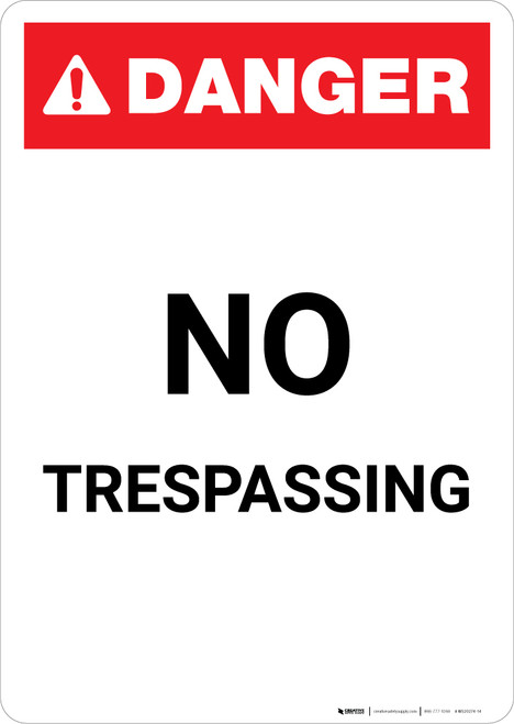No Trespassing ANSI - Portrait Wall Sign