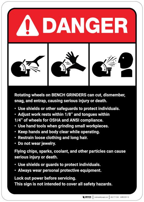 Danger: Bench Grinder Machine Guidelines ANSI - Wall Sign