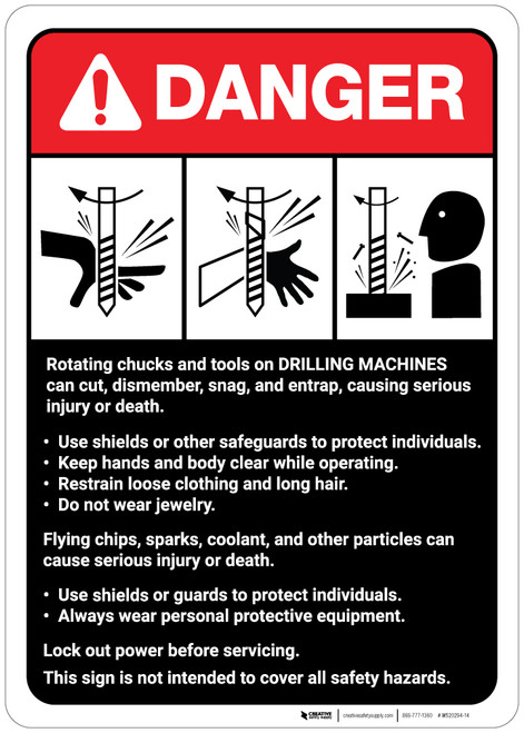 Danger: Drilling Machine Guidelines ANSI - Wall Sign