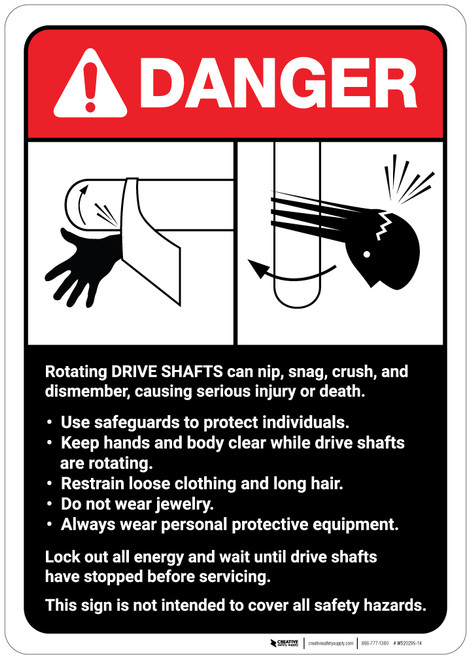 Danger: Drive Shaft Machine Guidelines ANSI - Wall Sign