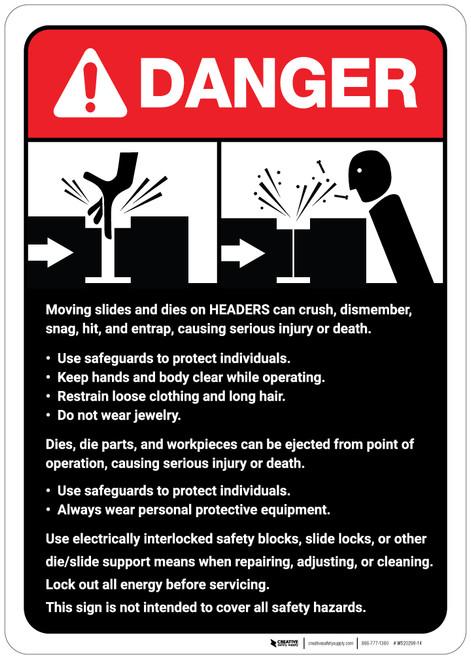 Danger: Moving Slides/Headers Guidelines ANSI - Wall Sign