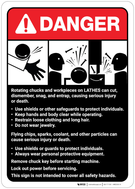 Danger: Lathe Machine Guidelines ANSI - Wall Sign