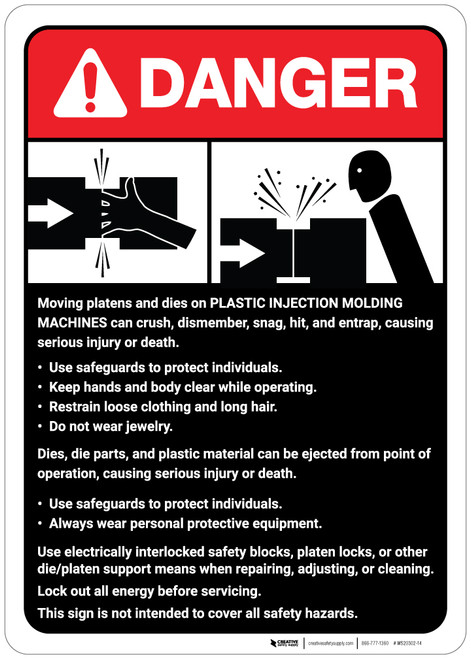 Danger: Plastic Injection Molding Machine Guidelines ANSI - Wall Sign