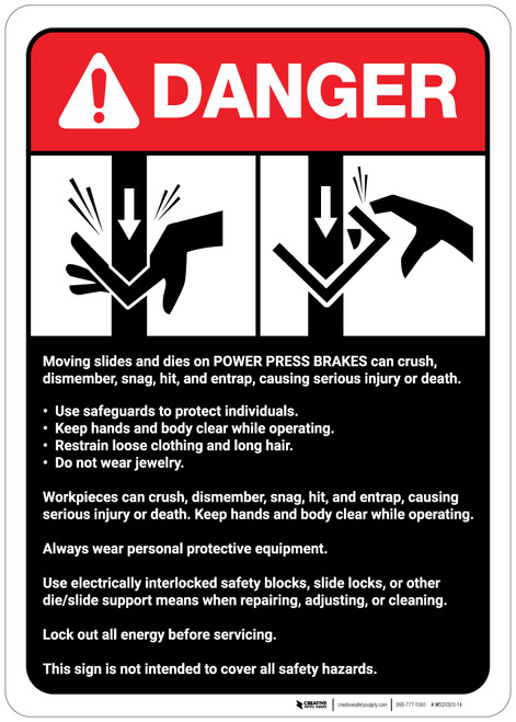 Danger: Power Press Breaks Guidelines ANSI - Wall Sign