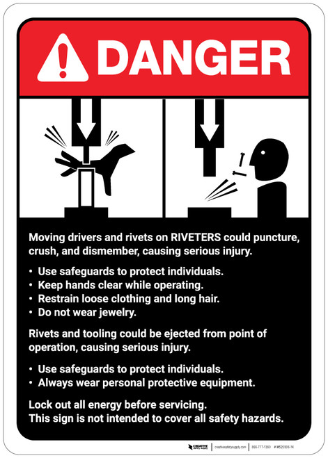 Danger: Rivits and Riviters Machine Guidelines ANSI - Wall Sign