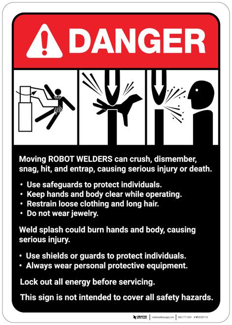Danger: Robot Welders Machine Guidelines ANSI - Wall Sign