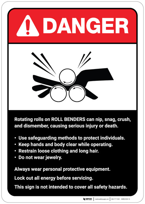 Danger: Roll Benders Guidelines ANSI - Wall Sign