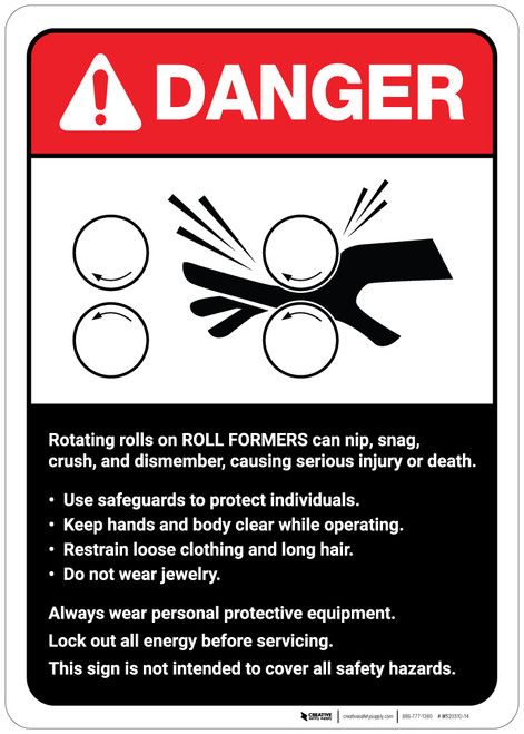 Danger: Roll Formers Guidelines ANSI - Wall Sign
