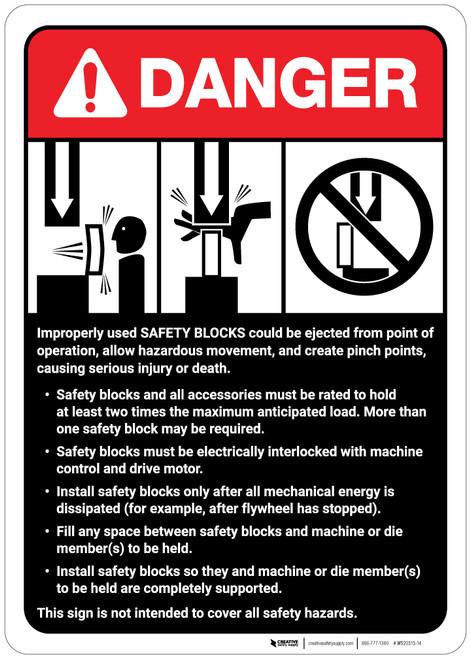 Danger: Safety Blocks Guidelines ANSI - Wall Sign