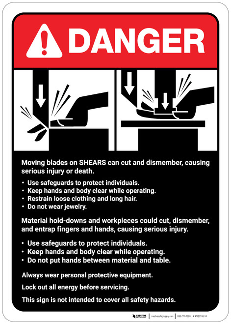 Danger: Moving Blades and Shears Guidelines ANSI - Wall Sign