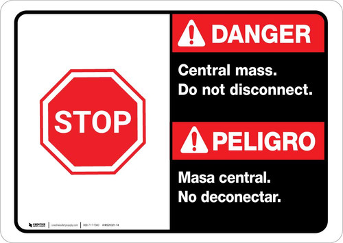 Danger: Spanish Bilingual Central Mass - Do Not Disconnect Landscape ANSI
