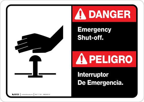 Danger: Spanish Bilingual Emergency Shut-Off Landscape ANSI