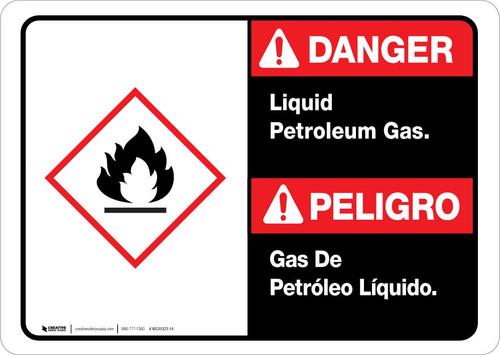 Danger: Spanish Bilingual Liquid Petroleum Gas Landscape ANSI