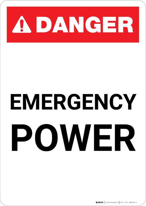 Danger: Emergency Power Portrait ANSI