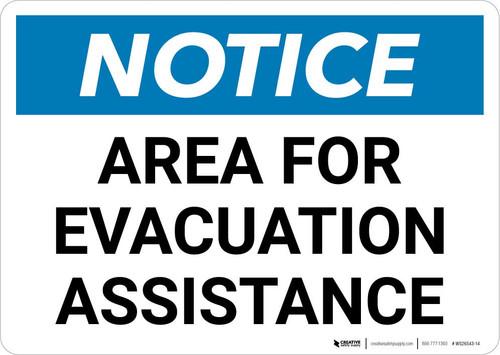 Notice: Area For Evacuation Assistance Landscape