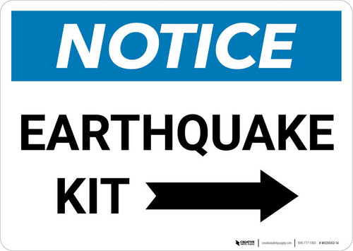 Notice: Earthquake Kit with Right Arrow Landscape