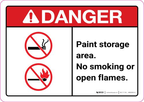 Danger: Paint Storage Area - No Smoking or Open Flames ANSI Landscape