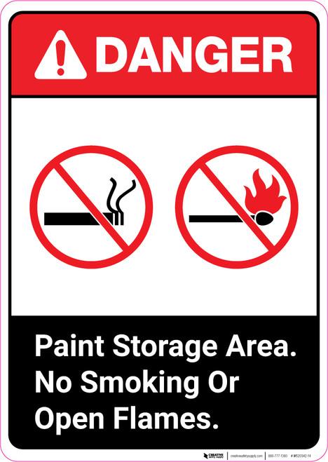 Danger: Paint Storage Area - No Smoking or Open Flames ANSI Portrait