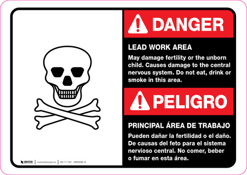 Danger: Lead Work Area May Damage Fertility Bilingual ANSI Landscape