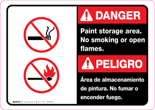 Danger: Paint Storage Area - No Smoking or Open Flames Bilingual ANSI Landscape