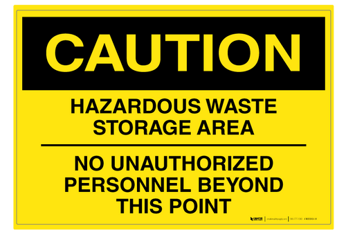 Hazardous Waste Storage Area - Wall Sign