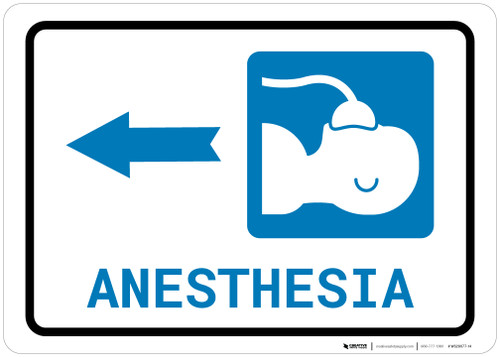 Anesthesia Left Arrow with Icon Landscape - Wall Sign