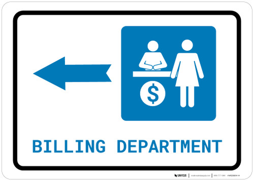 Billing Department Left Arrow with Icon Landscape - Wall Sign