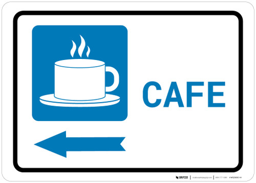 Cafe Left Arrow with Icon Landscape - Wall Sign