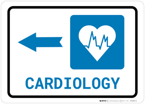 Cardiology Left Arrow with Icon Landscape - Wall Sign