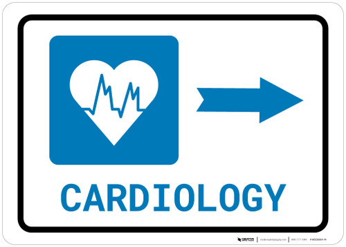 Cardiology Right Arrow with Icon Landscape - Wall Sign