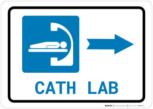 Cath Lab Right Arrow with Icon Landscape - Wall Sign