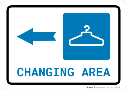 Changing Area Left Arrow with Icon Landscape - Wall Sign
