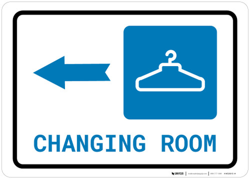 Changing Room Left Arrow with Icon Landscape - Wall Sign