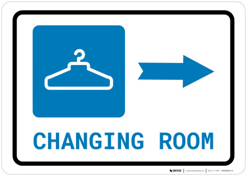 Changing Room Right Arrow with Icon Landscape - Wall Sign