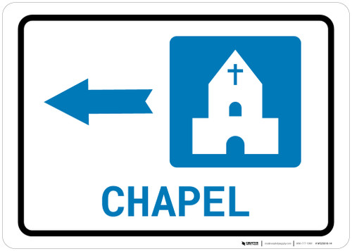 Chapel Left Arrow with Icon Landscape - Wall Sign