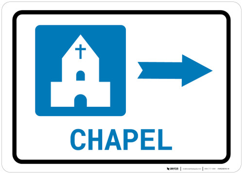 Chapel Right Arrow with Icon Landscape - Wall Sign