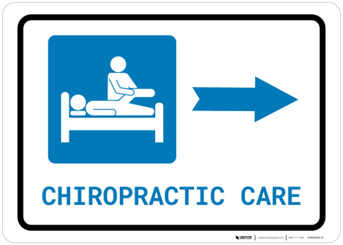 Chiropractic Care Right Arrow with Icon Landscape - Wall Sign