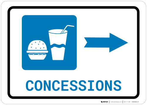 Concessions Right Arrow with Icon Landscape - Wall Sign