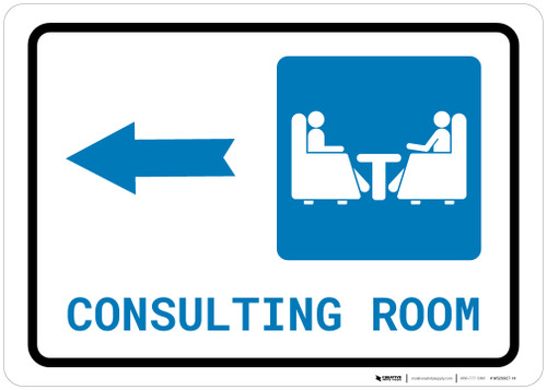Consulting Room Left Arrow with Icon Landscape - Wall Sign