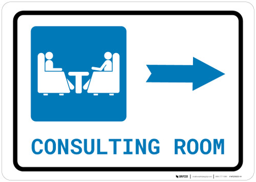Consulting Room Right Arrow with Icon Landscape - Wall Sign
