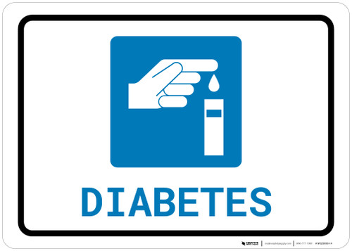 Diabetes with Icon Landscape - Wall Sign