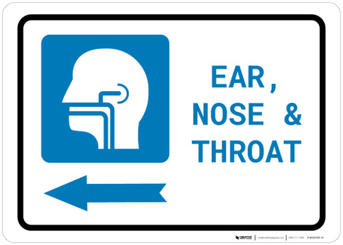 Ears, Nose, and Throat (ENT) Left Arrow with Icon Landscape - Wall Sign
