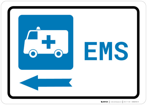 Emergency Left Arrow with First Aid Symbol Landscape - Wall Sign