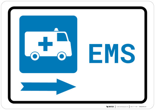 Emergency Right Arrow with First Aid Symbol Landscape - Wall Sign