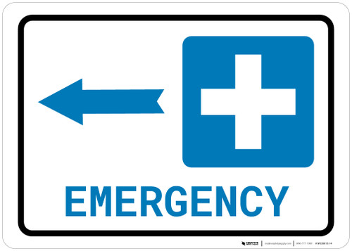 Emergency Left Arrow with Icon Landscape - Wall Sign