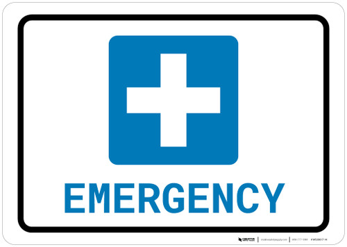 Emergency with Icon Landscape - Wall Sign