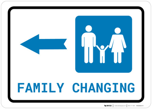 Family Changing Left Arrow with Icon Landscape - Wall Sign