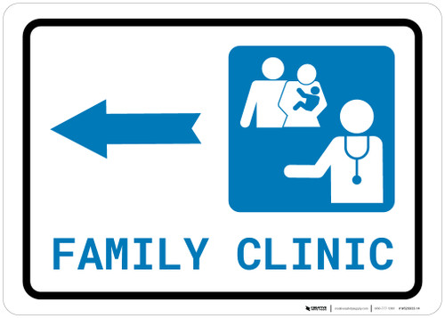 Family Health Clinic Left Arrow with Icon Landscape - Wall Sign