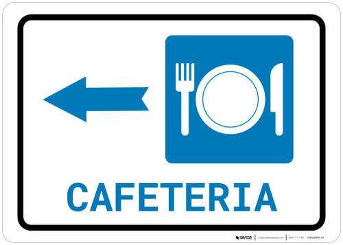Cafeteria (with Symbol) Left Arrow Landscape - Wall Sign